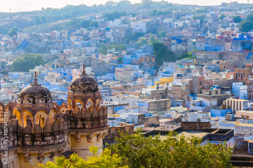Aluminium Prints Fortification The blue city of Jodhpur with the Mehrangarh Fort.