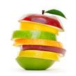 canvas print picture - Bunte Früchte in Scheiben.Stapel Obst isoliert