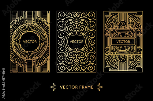 Vector set of design elements, labels and frames for packaging for luxury products in trendy linear style