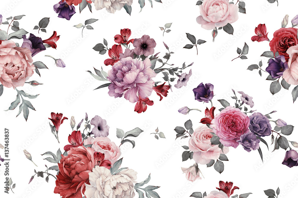Fototapeta Seamless floral pattern with roses, watercolor.