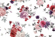Leinwanddruck Bild - Seamless floral pattern with roses, watercolor.