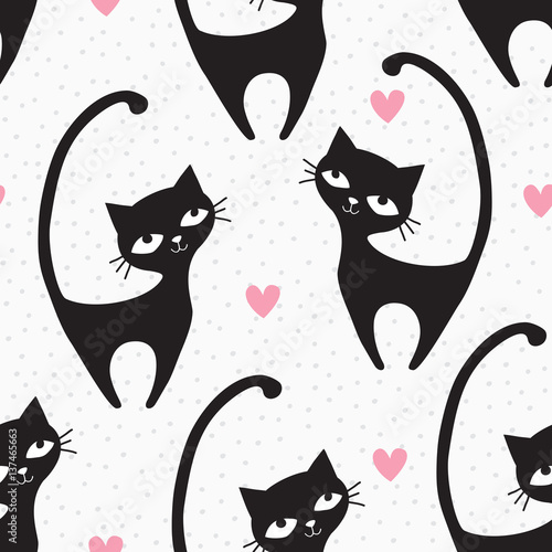 obraz dibond seamless black cat pattern vector illustration