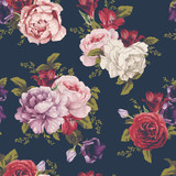 Seamless floral pattern with roses, watercolor. Vector illustration. - 137467698
