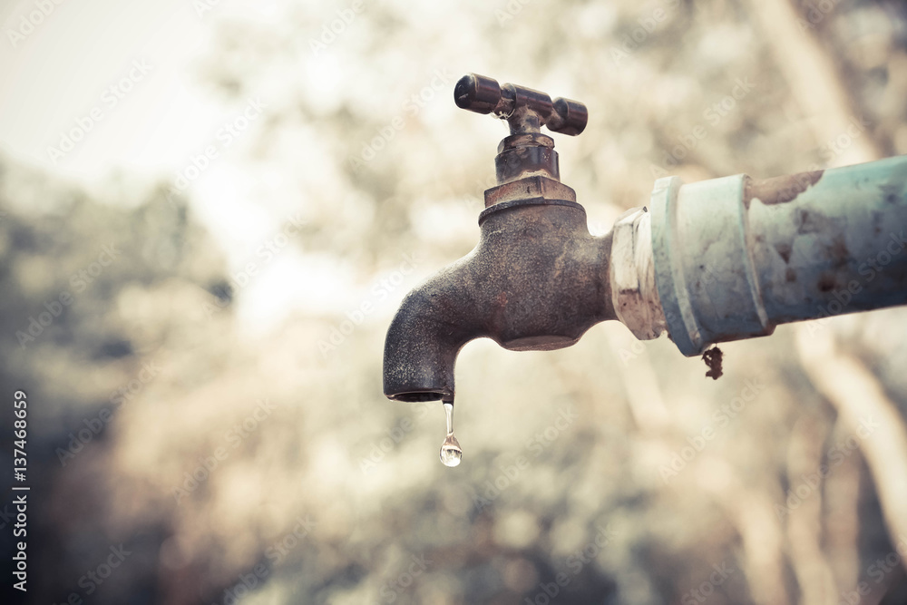 Fototapeta A faucet with a water drop / Water consumption concept