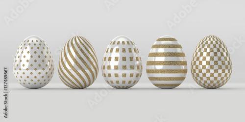 3d render of Easter glitter and pearl eggs © Aleksandra Gigowska