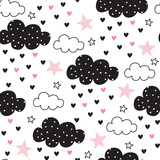 seamless clouds and stars pattern vector illustration - 137471412