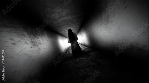 Photo  Ghost girl. Scary ghost in the dark corridor