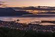 Orange and purple pre-dawn light over Ushuaia; Ushuaia, Antarctica