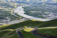 A View From Near The Top Of The Spiral Highway Looking Back At Just One Of Many Hairpin Turns, With Lewiston Idaho On The Left And Clarkston, Washington On The Right, Separated By The Snake River At The Confluence With The Clearwater River; Washington, United States Of America