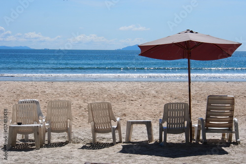 Beach Chair With Umbrella On The Nice