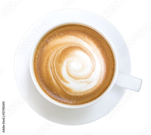 Fotografija Top view of hot coffee cappuccino isolated on white background