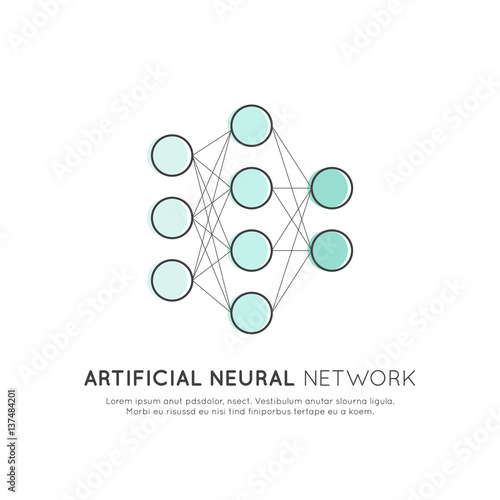 Vector Icon Style Illustration Concept Of Neural Network Machine