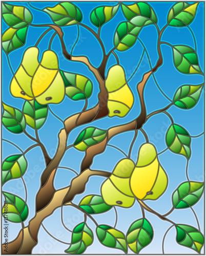 ilustracja-w-stylu-witrazu-z-galezi-drzewa-gruszy