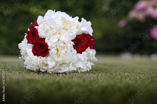 Bouquet Da Sposa Rosso.Bellissimo Colorato Bouquet Da Sposa Bianco E Rosso Su Prato Verde