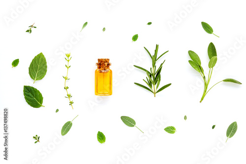 Fotografie, Obraz  Bottle of essential oil with fresh herbal sage, rosemary, lemon thyme ,thyme ,green mint and peppermint setup with flat lay on white wooden table