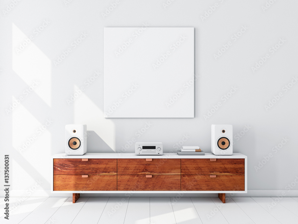 Fototapety, obrazy: Square white canvas Mockup hanging on the wall, hi fi micro system on bureau,3d rendering