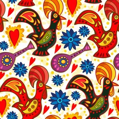 Vector seamless pattern of traditional Portuguese rooster in bright colors.