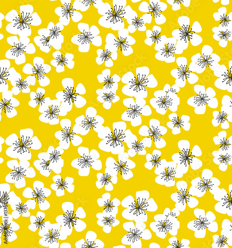 Cotton fabric sakura blossom seamless pattern on sunny yellow background. elegant naive spring floral design element for invitation, card, poster, greetings, wedding.