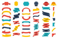 Ribbon Vector Icon Set Red Col...