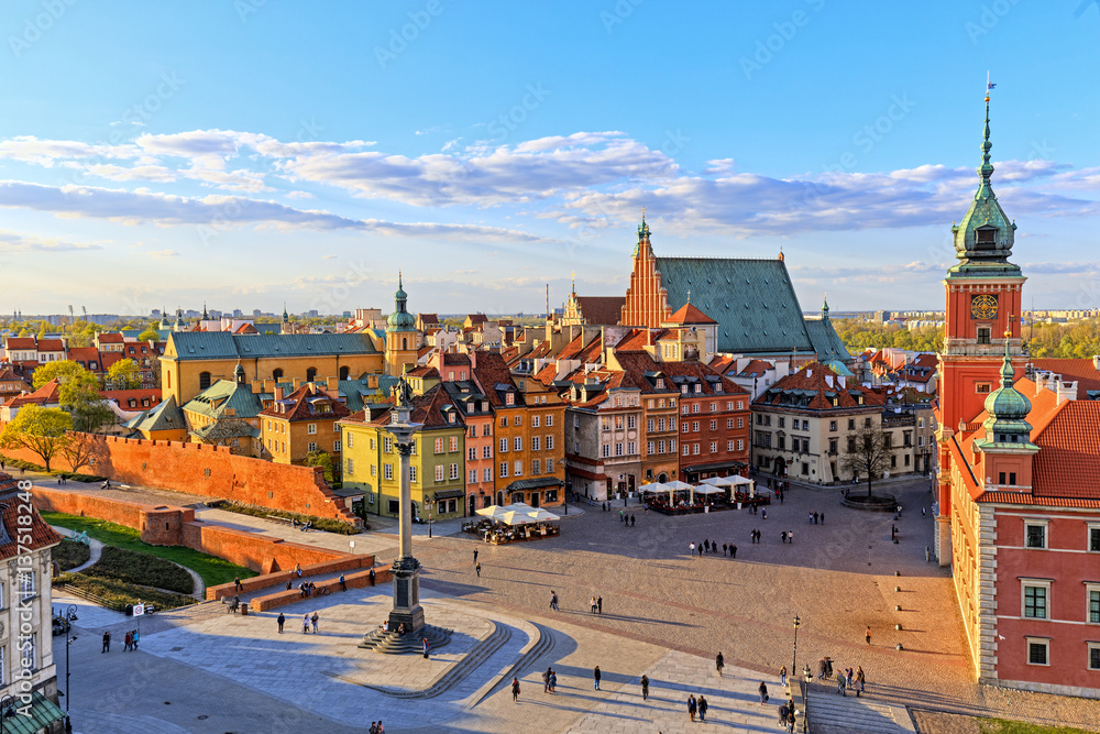 Fototapety, obrazy: Top view of the old city in Warsaw. HDR - high dynamic range