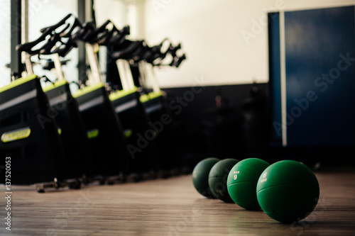 Fotografie, Obraz  medicine ball fitness and cycling background