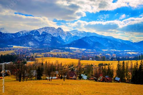 Spring mountains panorama of Zakopane,  High Tatra Mountains, Poland