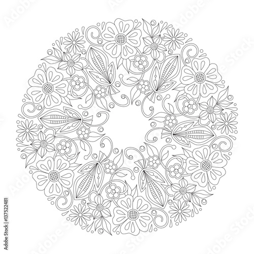 Doodle Floral Round Ornament In Black And White Page For Coloring Book Relaxing Job