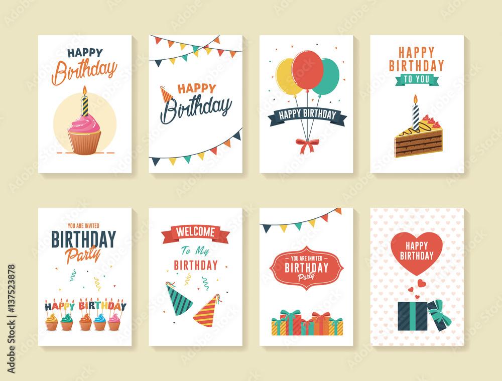 Fototapeta Set of Birthday Greeting and Invitation Card