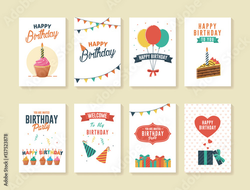 Photo  Set of Birthday Greeting and Invitation Card