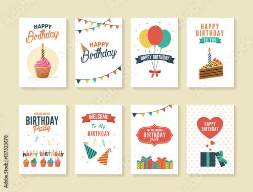 Obraz Set of Birthday Greeting and Invitation Card - fototapety do salonu