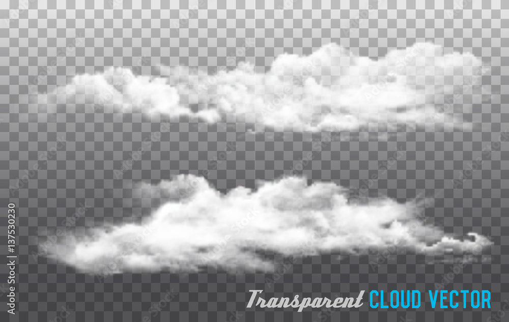 Fototapety, obrazy: Clouds vector on transparent background.