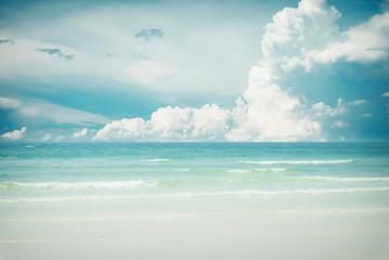 FototapetaVintage tropical beach (seascape) in summer. Landscape of seaside. vintage effect color tone.