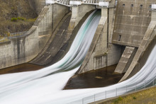 Water Flowing From Hydro Dam Spillway