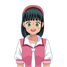 Anime Girl Japanese Character Vector Illustration Eps 10