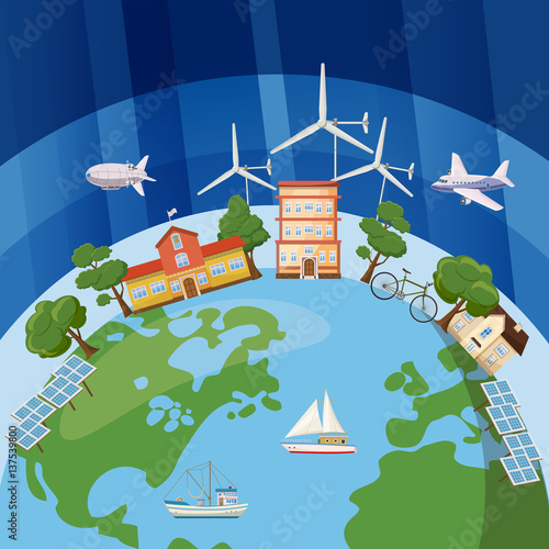 Staande foto Kasteel Global ecology concept, cartoon style