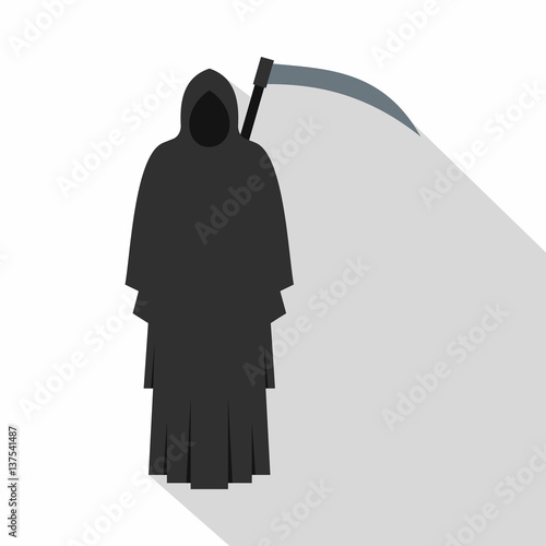 Photo  Grim reaper icon, flat style