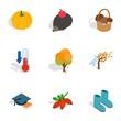 Symbols of autumn icons, isometric 3d style