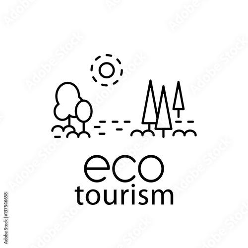 Fotografia  Eco tourism modern line style logo for travel industry.