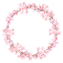 Spring Pink Blossom Watercolor Wreath