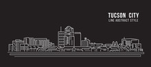 Cityscape Building Line Art Vector Illustration Design - Tucson City