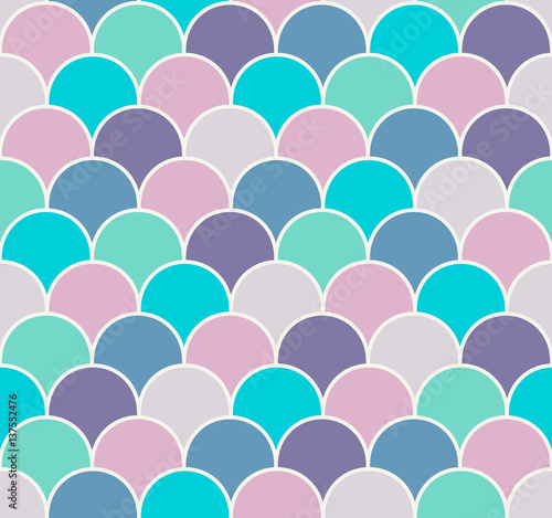 Fotografie, Obraz Abstract colorful scallop seamless vector pattern
