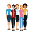 group of women cartoon icon over white background. colorful design. vector illustration