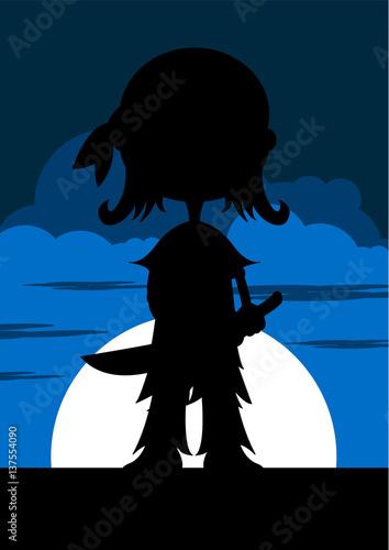Fotografie, Obraz  Cute Cartoon Pirate in Silhouette