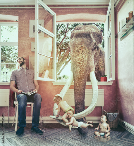 Elephant The elephant and the boy escapes. Photo combination concept