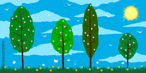 Deurstickers Groene Spring. Cartoon blossoming trees on the field with flowers, clouds, and sun.