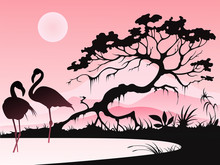 Landscape With Two Flamingos