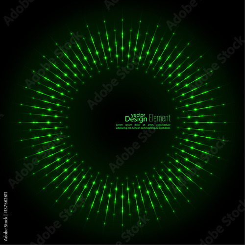 Fotografía  Abstract techno background with rays with glowing particles