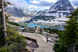 Fototapeta Natura - Mountain Goats and Hidden lake, Glacier National Park, Montana USA