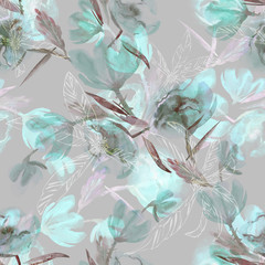 Fototapeta Flowers Seamless Pattern. Watercolor Background.