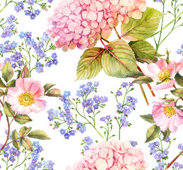 Panel Szklany Do kuchni Hydrangea, forget me not and roses flower seamless pattern
